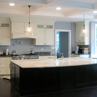 Large modern eat-in kitchen ideas - Eat-in kitchen - large modern l-shaped dark wood floor eat-in kitchen idea in Chicago with a farmhouse sink, shaker cabinets, white cabinets, granite countertops, gray backsplash, stainless steel appliances and an island