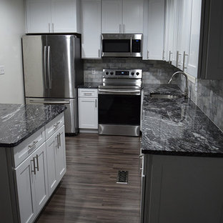 White Shaker Kitchen with new Dark Grey Laminate Flooring