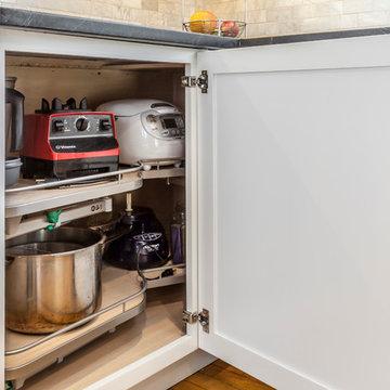White Shaker Kitchen with soapstone countertops