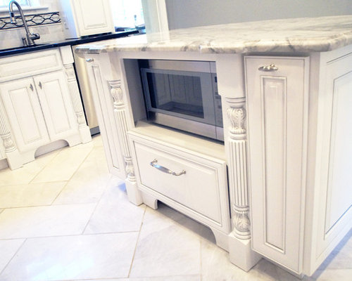 White Raised Panel Cabinets, Elegant Kitchen