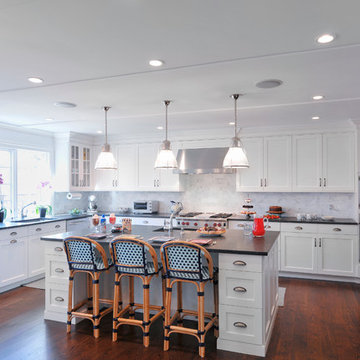 White Transitional Kitchen, East Hills, NY