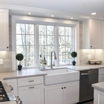 White Transitional Kitchen Sink View
