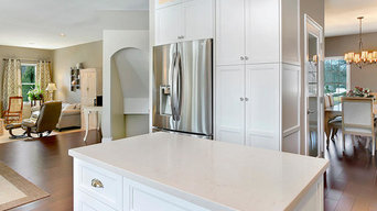 White Transitional Kitchen Staggered Height Cabinets