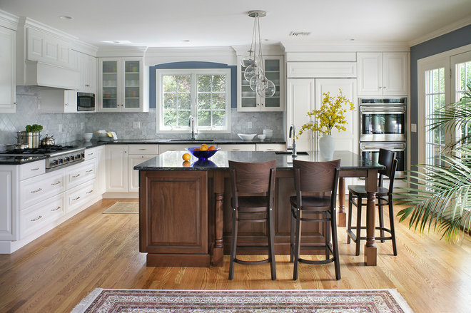 Transitional Kitchen by Thyme & Place Design LLC