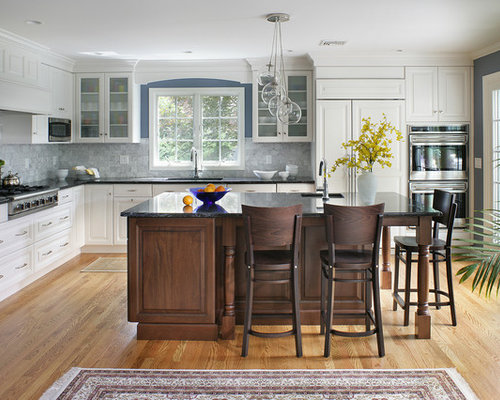 Dark Island White Cabinets | Houzz
