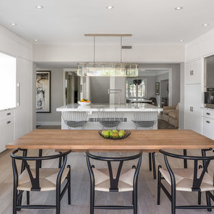 Large scandinavian enclosed kitchen inspiration - Example of a large danish galley light wood floor enclosed kitchen design in Ottawa with a single-bowl sink, flat-panel cabinets, white cabinets, marble countertops, white backsplash, stone slab backsplash, stainless steel appliances and an island