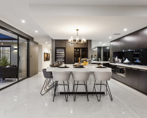 Design Ideas For A Contemporary L Shaped Open Plan Kitchen In Perth With An  Undermount