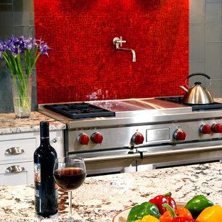 Huge transitional kitchen photos - Kitchen - huge transitional kitchen idea in DC Metro with white cabinets, stainless steel appliances, red backsplash and glass tile backsplash