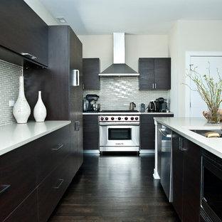 Ejemplo de cocina comedor de galera, minimalista, con armarios con paneles lisos, puertas de armario de madera en tonos medios y una isla