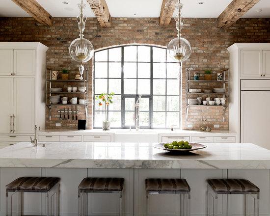 White Kitchen Exposed Brick exposed brick kitchen wall | houzz