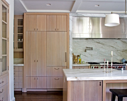 Perfect Example Of A Transitional Galley Kitchen Design In Los Angeles With  Flat Panel Cabinets,