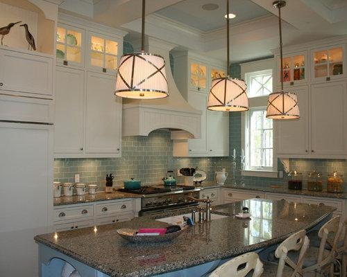 Coastal Kitchen Photo In Miami With Subway Tile Backsplash And Granite Countertops