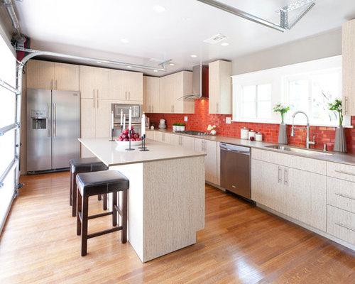 Red backsplash houzz - Red kitchen appliances ...