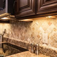 u shaped kitchen pantry with stone tile backsplash ideas