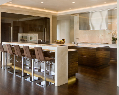 Waterfall bar houzz for Cuisine avec bar table