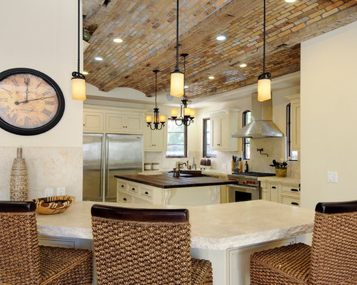 Vaulted Ceiling Kitchen Design Ideas, Renovations u0026 Photos with Beige Cabinets