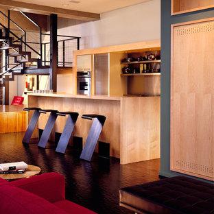 シカゴの中サイズのコンテンポラリースタイルのおしゃれなキッチン (シングルシンク、フラットパネル扉のキャビネット、緑のキャビネット、ステンレスカウンター、メタリックのキッチンパネル、メタルタイルのキッチンパネル、カラー調理設備、濃色無垢フローリング) の写真