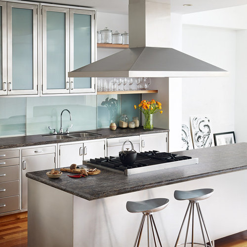 Stainless Steel Cabinets For Kitchen: Kitchen Design Ideas, Renovations & Photos With Glass