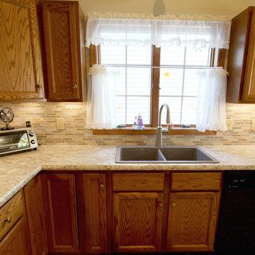 Wilsonart Beige Laminate Countertop with Glass Backsplash ~ Middleburg Hts, OH