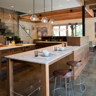Open concept kitchen - eclectic open concept kitchen idea in New York with medium tone wood cabinets