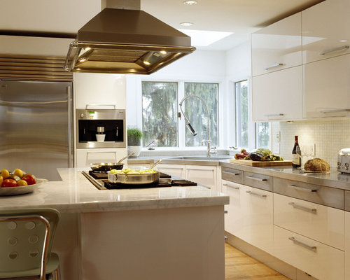 Trendy kitchen photo in Boston with stainless steel appliances, flat-panel  cabinets, white