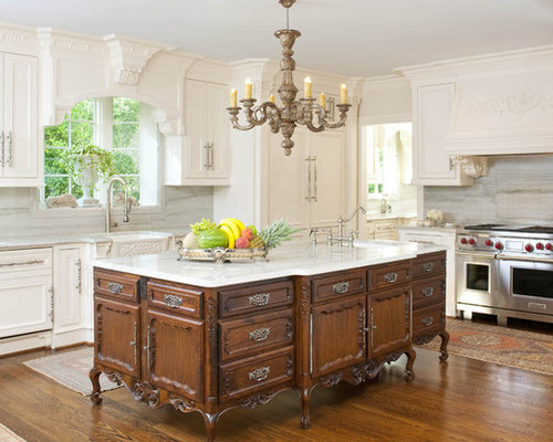 Example Of An Ornate Kitchen Design In Dallas With Quartzite Countertops