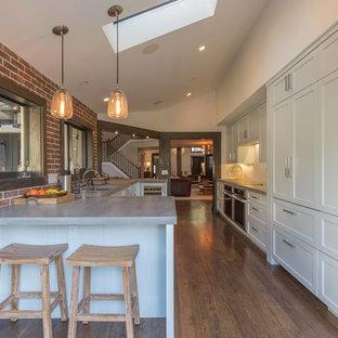 マイアミの大きいエクレクティックスタイルのおしゃれなキッチン (シングルシンク、シェーカースタイル扉のキャビネット、青いキャビネット、コンクリートカウンター、白いキッチンパネル、ガラスタイルのキッチンパネル、パネルと同色の調理設備、無垢フローリング) の写真