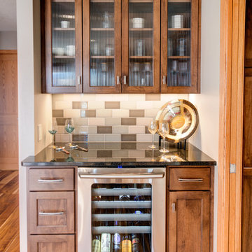 Wine bar with reeded glass doors