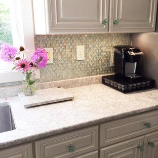 Wisconsin Residence - Oval Aqua Blue Iridescent Glass Tile Backsplash
