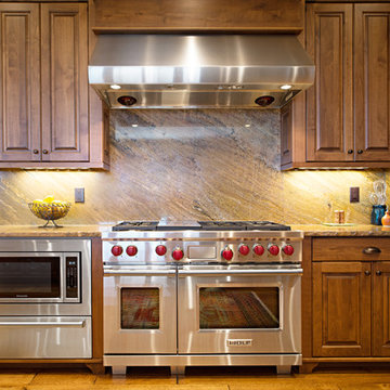 Wolf Range and Warming Drawer in traditional style Chef's Kitchen