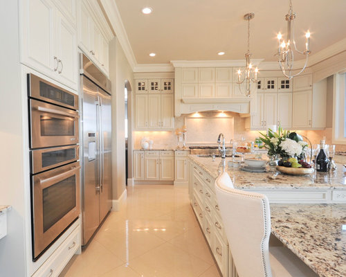 Large Traditional Open Concept Kitchen Remodeling   Large Elegant U Shaped Marble  Floor Open Concept
