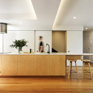 Contemporary kitchen in Sydney with a double-bowl sink, flat-panel cabinets, light wood cabinets, medium hardwood floors, with island, brown floor and white benchtop.