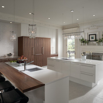 Wood and High Gloss Contemporary Kitchen