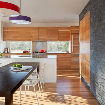 Wood Cabinet Kitchen with Black Stone