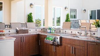 Wood-grain powder coat finish outdoor kitchen by Danver Stainless Steel Outdoor