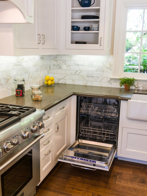 Traditional mix of wood stain painted cabinets wood for Wood mode kitchen cabinets reviews
