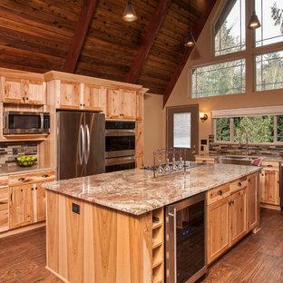 Rustic Kitchen Photos   Kitchen   Rustic L Shaped Medium Tone Wood Floor  And Brown