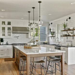 ミネアポリスのカントリー風おしゃれなキッチン (アンダーカウンターシンク、白いキャビネット、珪岩カウンター、サブウェイタイルのキッチンパネル、シルバーの調理設備、淡色無垢フローリング、シェーカースタイル扉のキャビネット、白いキッチンパネル、ベージュの床、黒いキッチンカウンター、塗装板張りの天井) の写真