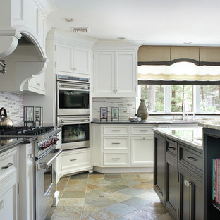 This is an example of a traditional l-shaped open plan kitchen in New York with a submerged sink, shaker cabinets, white cabinets, granite worktops, white splashback, metro tiled splashback, stainless steel appliances, ceramic flooring and an island.