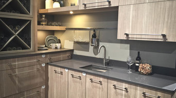 Wooden Cabinets paired with Concrete Quartz.  Multi Level Surfaces 2016 Trend!