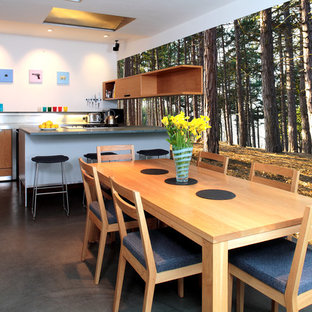 Photo of a contemporary eat-in kitchen in Other with flat-panel cabinets and medium wood cabinets.
