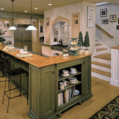 Mountain style kitchen photo in New York with an undermount sink, beaded inset cabinets, green cabinets, wood countertops, stone tile backsplash and stainless steel appliances