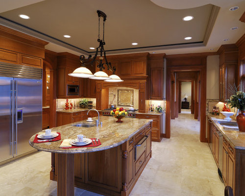 light cherry kitchen cabinets. Traditional u shaped ceramic floor kitchen idea in Los Angeles with  raised panel cabinets Light Cherry Cabinets Houzz