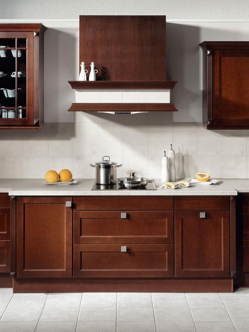 Contemporary Ceramic Floor Kitchen Idea In Los Angeles With Shaker Cabinets,  Dark Wood Cabinets,