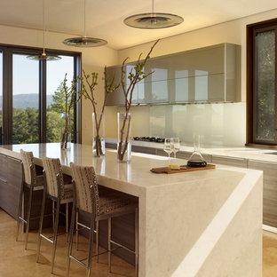 На фото: параллельная кухня в современном стиле с одинарной раковиной, плоскими фасадами, серыми фасадами, белым фартуком и фартуком из стекла