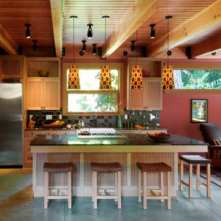 Contemporary open concept kitchen designs - Inspiration for a contemporary open concept kitchen remodel in Seattle with black backsplash and stainless steel appliances