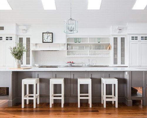 This Is An Example Of A Large Transitional Single Wall Kitchen In Sydney  With Shaker
