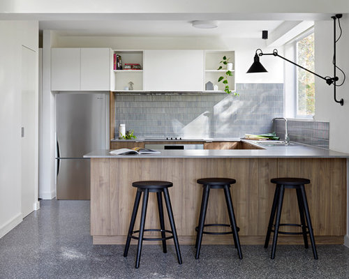 Marvelous Small Contemporary U Shaped Kitchen In Melbourne With A Double Bowl Sink,  Medium
