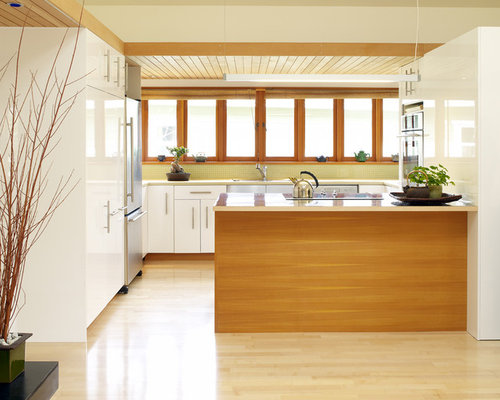 Pantry Kitchen Design Ideas, Remodels & Photos with Yellow Backsplash ...