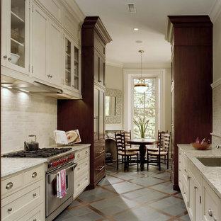 Imagen de cocina comedor de galera, clásica, con electrodomésticos con paneles, armarios con rebordes decorativos, puertas de armario beige, fregadero bajoencimera, salpicadero beige y salpicadero de piedra caliza